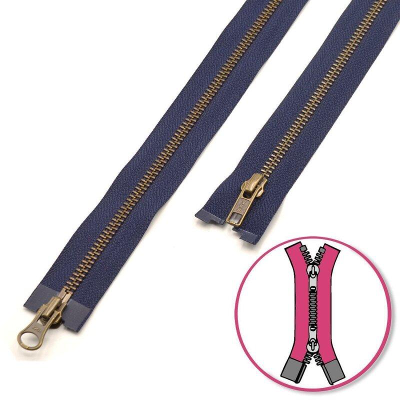 Jeans Reissverschluss  Metall 16  cm dunkelbraun gold 6,0
