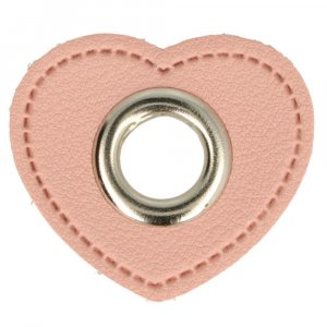 Ösen Kunstleder Patch Herz Rosa 8mm - Nickel