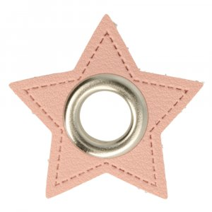 Ösen Kunstleder Patch Stern Rosa 8mm - Nickel