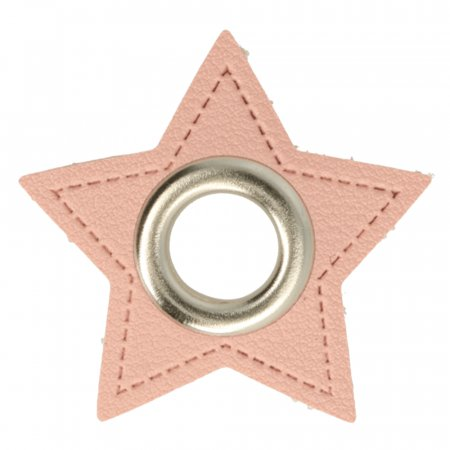 Ösen Kunstleder Patch Stern Rosa 11mm - Nickel