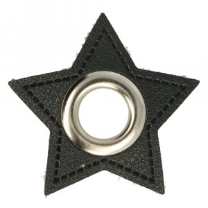 Ösen Kunstleder Patch Stern Schwarz 8mm - Nickel