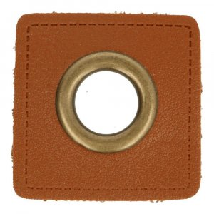 Ösen Kunstleder Patch Braun 11mm - Bronze