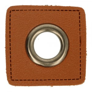Ösen Kunstleder Patch Braun 14mm - Altnickel