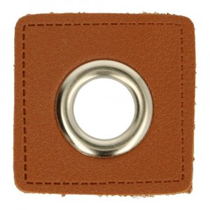 Ösen Kunstleder Patch Braun 14mm - Nickel