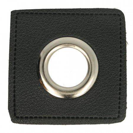 Ösen Kunstleder Patch Schwarz 8mm - Nickel