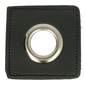Ösen Kunstleder Patch Schwarz 14mm - Nickel
