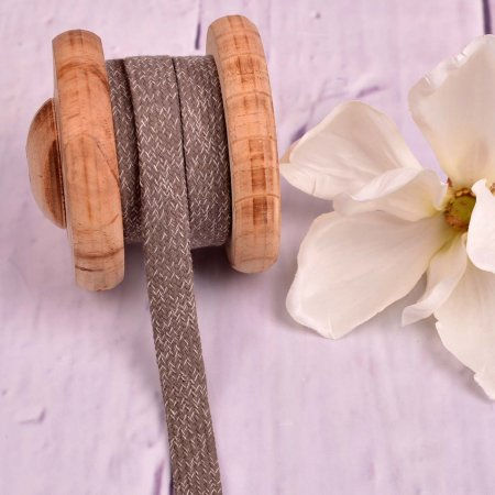 Flache Baumwoll Kordel Hoodieband Taupe Meliert 15mm