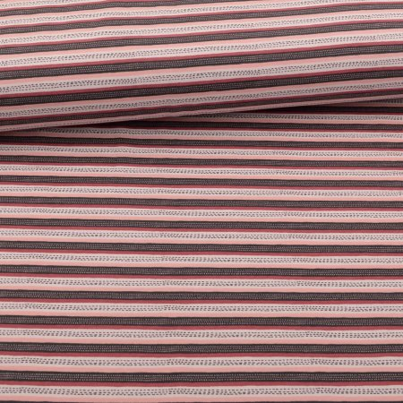 Organic Soft Touch Ganzjahres-Sweat French Terry brushed Stripes Rosé