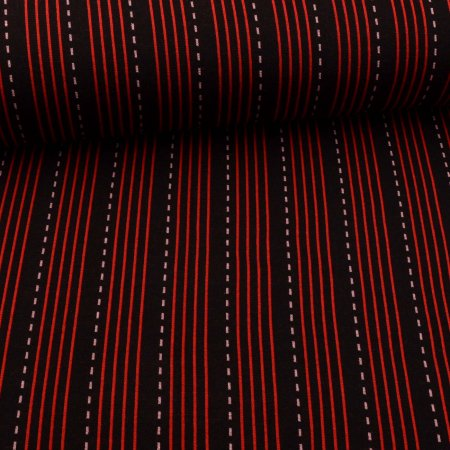 Jacquard Jersey Hamburger Liebe Sparkle Lines Rot
